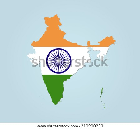 India detailed map - stock vector