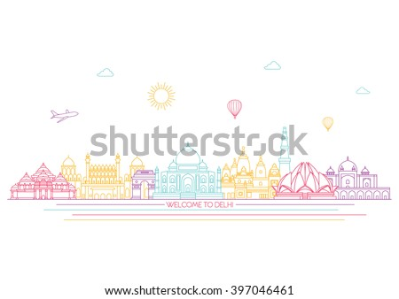 India detailed skyline. Travel and tourism background. Vector background. line illustration. Line art style - stock vector