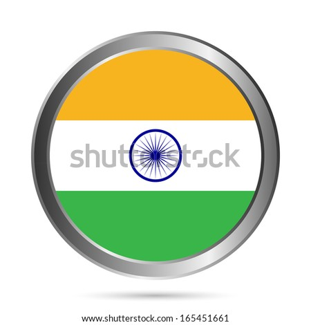India flag button on a white background. Vector illustration.