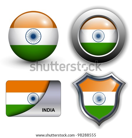 India flag icons theme. - stock vector