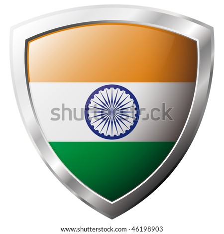 India flag on metal shiny shield vector illustration. Collection of flags on shield against white background. Abstract isolated object.