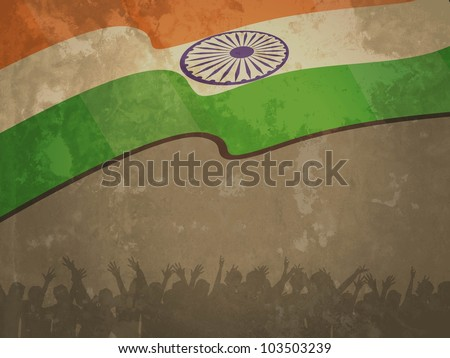 India flag on old textured paper background with flag and silhouettes of people for Republic Day and Independence Day and other occasions. Vector illustration. EPS 10. - stock vector