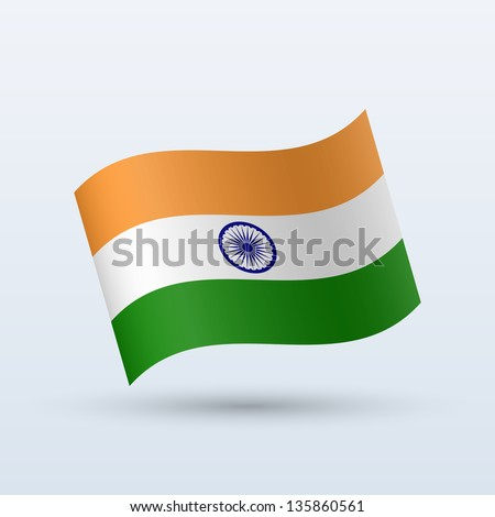 India flag waving form on gray background. Vector illustration. - stock vector