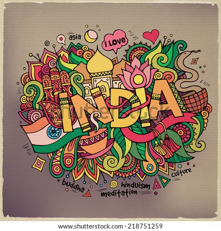 India hand lettering and doodles elements background. Vector illustration - stock vector