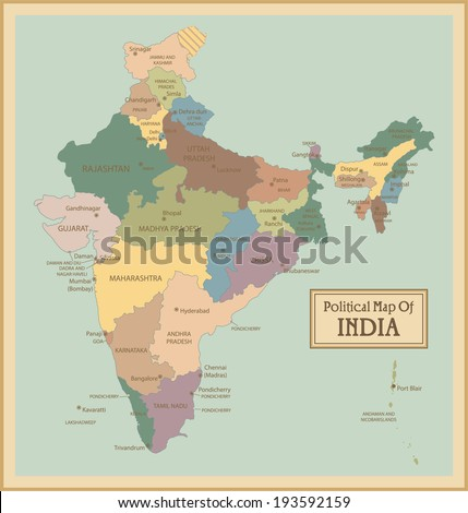 India-highly detailed map.All elements are separated in editable layers clearly labeled. Vector  - stock vector