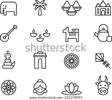 India icons - stock vector