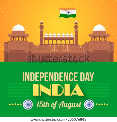 India Independence Day 15 August Celebration Card, Background, Badges Vector Template - stock vector