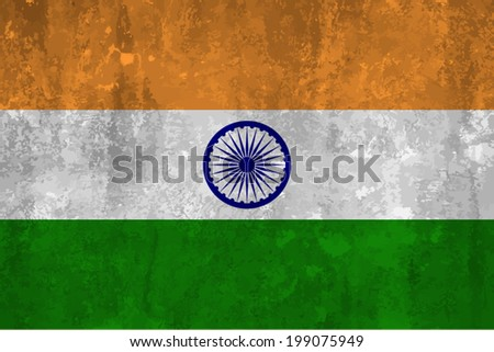 India, Indian Flag on concrete textured background