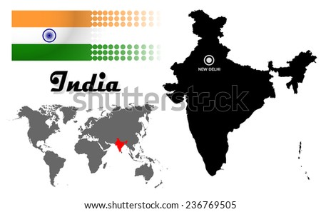 India info graphic with flag , location in world map, Map and the capital ,Canberra, location.(EPS10 Separate part by part) - stock vector