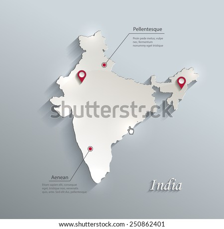 India map blue white card paper 3D vector - stock vector