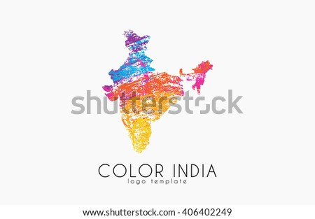 India. Map of India. Color india logo. Creative India