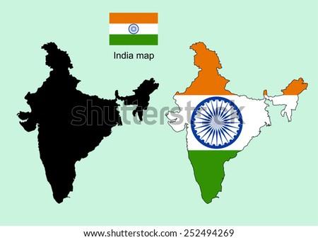 India map vector, India flag vector - stock vector