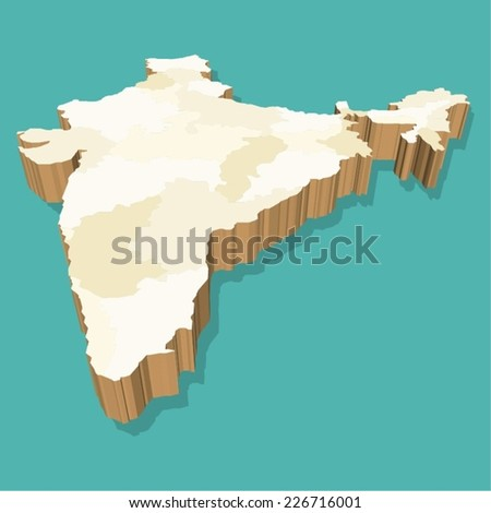 India Map Vector Three Dimensional - stock vector