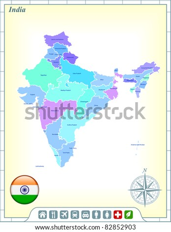 India Map with Flag Buttons and Assistance & Activates Icons Original Illustration - stock vector
