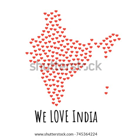 India Map Red Hearts Symbol Love Stock Vector 2018 745364224