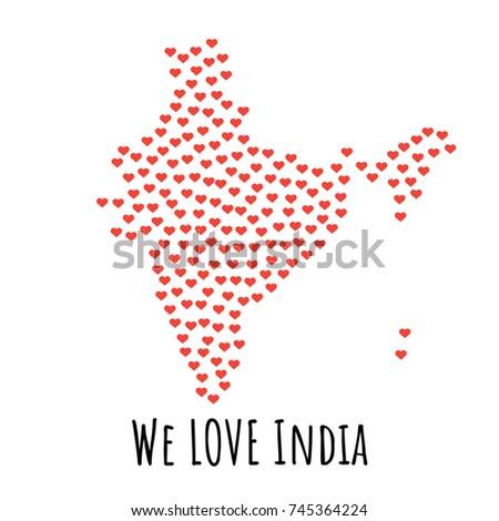 India Map Red Hearts Symbol Love Vectores En Stock 745364224