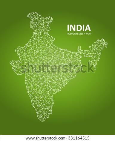 India - Polygon Mesh Map - stock vector