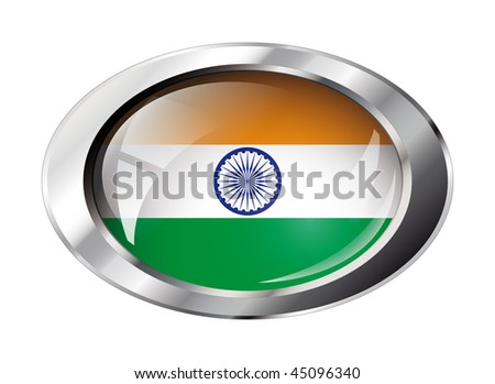 india shiny button flag vector illustration. Isolated abstract object against white background.
