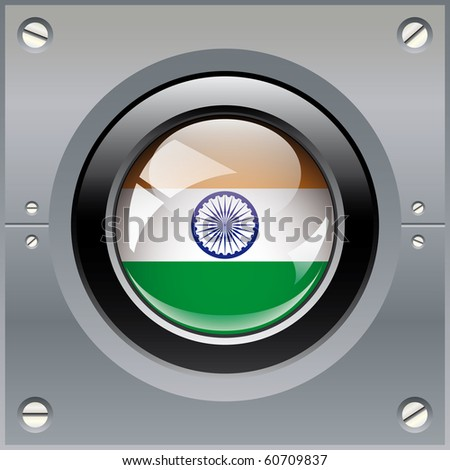 India shiny button flag vector illustration. Isolated abstract object on metal background.