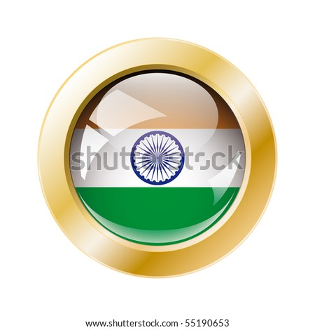 India shiny button flag with golden ring vector illustration. Isolated abstract object against white background.