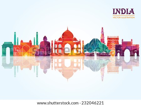 India skyline. Vector illustration - stock vector