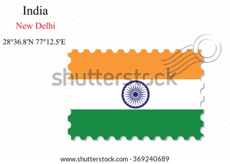 india stamp design over stripy background, abstract vector art illustration, image contains transparency