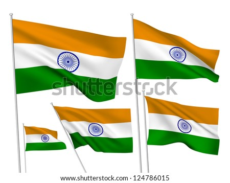 India vector flags. A set of 5 wavy 3D flags created using gradient meshes. - stock vector
