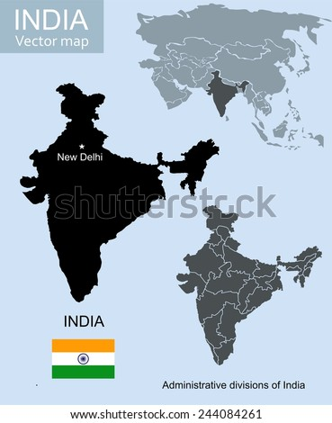 India vector map - stock vector
