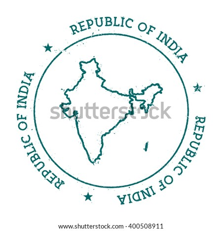 India vector map. Retro vintage insignia with India map. Distressed visa stamp with India text wrapped around a circle and stars. Country map vector illustration. - stock vector