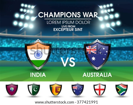 India VS Australia Cricket Match concept with other participant countries flags on stadium lights background. - stock vector