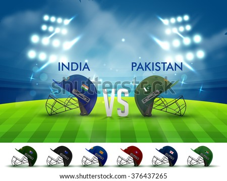 India VS Pakistan, Cricket Match concept with creative illustration of participant countries Batsman Helmets on night stadium lights background.