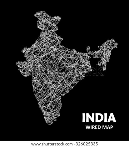 INDIA Wired Map - Transportation / Communication Concept  - stock vector