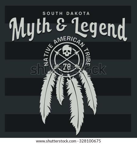 Indian america skull typography, t-shirt graphics, vectors - stock vector