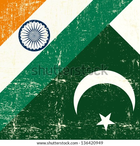 Indian and Pakistani grunge Flag. this flag represents the relationship  between India and the Pakistan