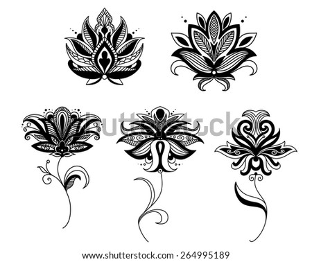 Indian and persian paisley flowers set for retro and ornate design - stock vector