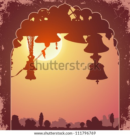 Indian arch and architecture at sunset - stock vector