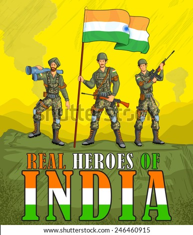 Indian army showing victory of India in vector - stock vector