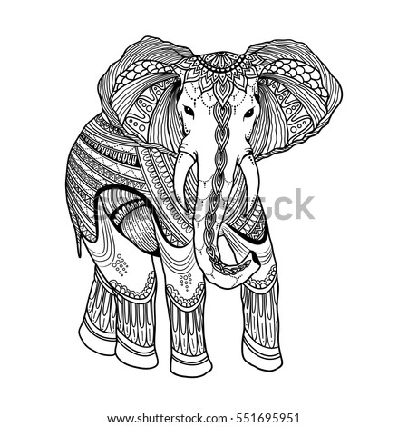 indian beautiful elephant in zentangle ornament asian style ornate elephant in doodle design for antistress
