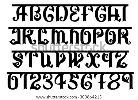 Indian black font, EPS 8 - stock vector