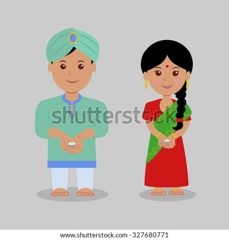 Indian boy and girl dressed in traditional clothes hold candles. Isolated characters. Diwali Holiday. - stock vector