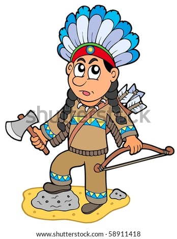 Indian boy with axe and bow - vector illustration. - stock vector