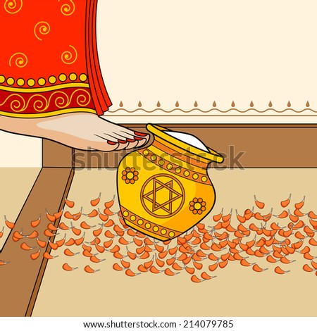 Indian bride pushing pot filled with rice during Griha Pravesh ceremony in vector - stock vector