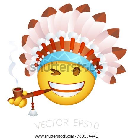 indian chief emoji emoticon native american stock vector Indian Warrior Logo Cherokee Indian Chief Logo