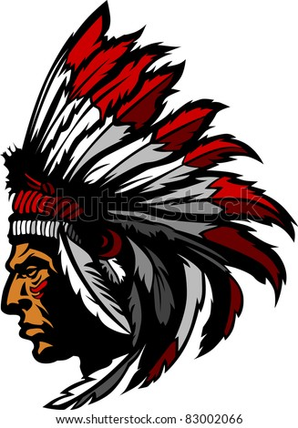 Indian Chief Head Graphic - stock vector