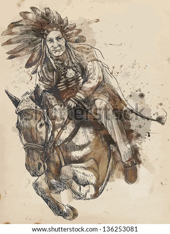 Indian Chief riding a horse and jumping over a hurdle. /// A hand drawn illustration converted into vector. Vector is editable in 4 layers. - stock vector