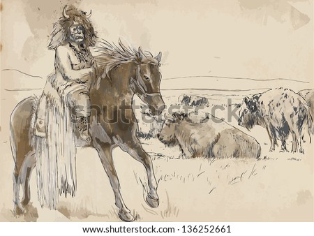 Indian Chief riding a horse, watching buffalo herd. /// A hand drawn illustration converted into vector. Vector is editable in 7 layers. - stock vector