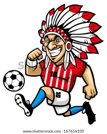 indian chief soccer mascot - stock vector