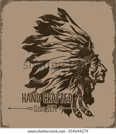 Indian chief wearing traditional headdress for apparel - stock vector