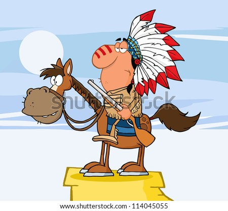 Indian Chief With Gun On Horse Over Rocks. Vector Illustration - stock vector