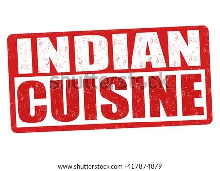 Indian cuisine grunge rubber stamp on white background, vector illustration - stock vector